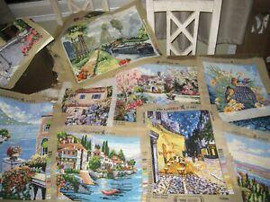 LOT Vintage Finished Needlepoint Pieces Landscape/Scenery Themed