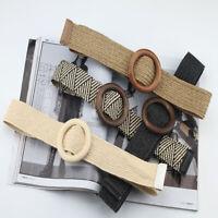 Women Elastic Straw Woven Belt Strap Casual Waist Belt Wood Buckle Waistband New