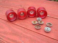 Vintage 1970s sidewalk skateboard surfboard skater wheels ruby red nice hobie