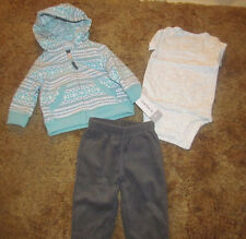 Boys Carter's NWT mint and gray 3 piece microfleece set size 3 months