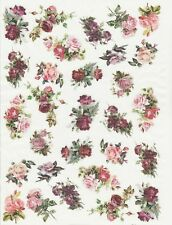 Rice Paper for Decoupage Scrapbook Craft Sheet Small Roses