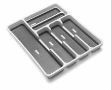 ADDIS 6-COMPARTMENT GREY SILVER RUBBER MAT INSIDE CUTLERY DRAWER ORGANISER