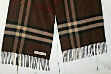 "Burberry Scarf/Muffler 100% Cashmere Check/Plaid Made in Scotland 66"" X 11.75"""