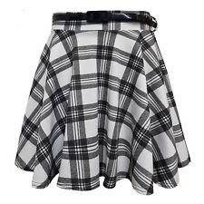 Ladies Women's Tartan Belted Short Mini Party Skater Skirt Plus Size 8-22