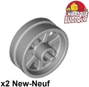 Lego 2x Wheel Rim Wheel 15mm Diameter X 6mm City Motorcycle Moto Grey 50862 New