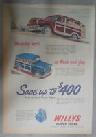 Willys Car Ad: New Station Wagon ! from 1951 Size: 11 x 15 inches