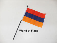"ARMENIA SMALL HAND WAVING FLAG 6"" x 4"" Armenian Crafts Table Desk Top Display"