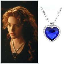New Crystal Sapphire Pendant Necklace Titanic Heart Of The Ocean Necklace