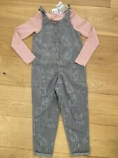 Super Cute Next Bunny Dungarees + Matching Top Age 5-6 Brand New!