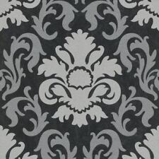 P&S Carat Damask Black & Silver Glitter Wallpaper 13343-40 Feature Wall Decor