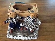 """SET 2 ROSS BELLE COEUR 5"""" BEARS IN TOTE BOX with Coverlet NAVY & WHITE STRIPES"""