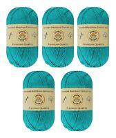 "5-pack Set ""Cyan"" Worsted Bamboo Cotton Yarn Skeins by Yonkey Monkey"