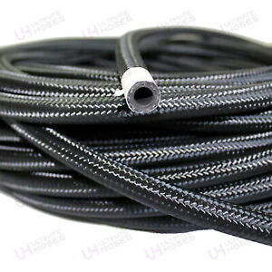 """AN -6 AN6 5/16"""" 8MM - Black Stainless Steel Braided Fuel Oil Coolant Hose 1M"""