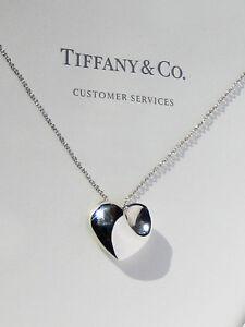 Tiffany & Co Sterlingsilber Halskette Massiv Gefaltete Herzanhänger