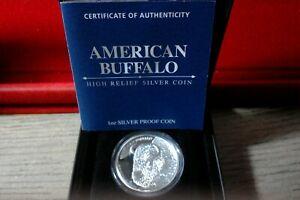 """2014 Tuvalu American Buffalo1 oz .999 Fine  Silver """"High Relief"""""""