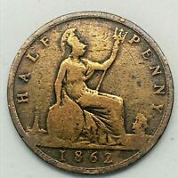 1862 GREAT BRITAIN VICTORIA 1/2 (HALF) PENNY BRONZE COIN -  KM# 748.2