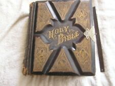 Antique 1883 Holy Bible Old New Testaments References Illustrated