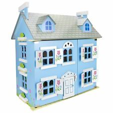 WOODEN BLUE VILLA DOLLS HOUSE WITH FURNISHINGS BY LEOMARK KIDS GIRLS