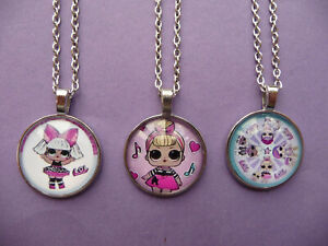 LOL Surprise Doll Pendant Necklace with chain Girls Party Bag filler 3 designs