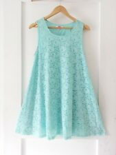 SES * Sz 14 aqua peppermint green LACE stretch a-line tunic mini dress!