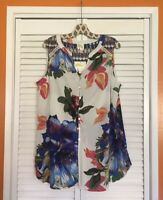 Large/XL Anthropologie Fig & Flower White Purple Blue Tunic Floral Top Blouse