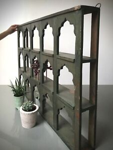 ANTIQUE VINTAGE INDIAN FURNITURE. LARGE DISPLAY/SHELVING UNIT. KHAKI GREEN
