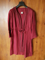 RRP £199 - POETRY Mac Trench Parka Coat Jacket Burgundy Red Linen UK 14 - NEW