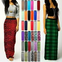 WOMEN LADIES PRINTED JERSEY LONG MAXI SKIRT GYPSY STRETCHY SKIRT UK SIZE 8-26
