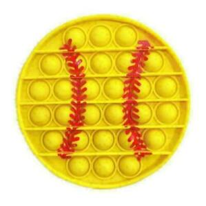 Yellow Baseball Push Pop for it Bubble Fidget Toy Sensory Brand New