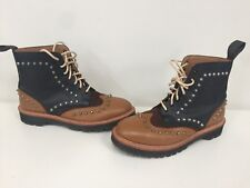 Rare Dr Martens FELIPE stud studded Tan dark black brown boots UK 6.5 EU 40