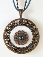£40 Baroque Gold Blue White Round Pendant Necklace Swarovski Elements Crystal