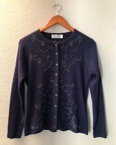 PETITE SOPHISTICATE Purple Beaded Cardigan Sweater