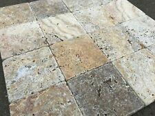 TRAVERTINO-Piastrelle  10x10X1 cm in Travertino Autunno burattato
