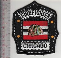 Chicago Fire Department & Black Hawks Hockey Team Promo Patch lg
