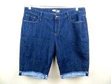 Old Navy The Flirt dark wash denim jeans size 14 cuffed raw hems bermuda length