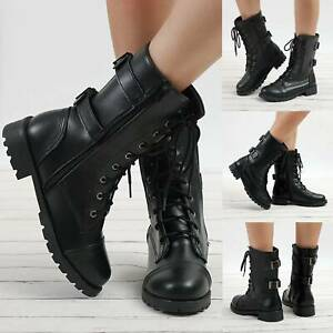 Women Military Lady Buckle Boots Army Combat Ankle Lace Up Flat Bikers Zip Shoes