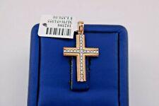 14k Rose Gold White Sapphire Cross Pendant, 3.5gm, S102388