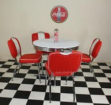 American 50's Diner Retro Furniture with 4 Studded Red Chairs