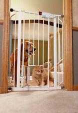 Pet Gate Extra Tall Dog Door Indoor Baby Safety Gates Walk Thru Metal White