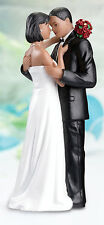 Tender Love Romantic Embrace African American Couple Resin Wedding Cake Topper