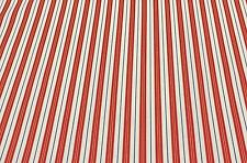 "DURALEE PENNYS STRIPE RED BLUE CREAM YELLOW CUSHION FABRIC BY THE YARD 54"" WIDE"