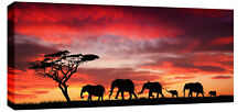 "LARGE ELEPHANTS SUNSET UNIQUE CANVAS ARTWORK 44""x20"""