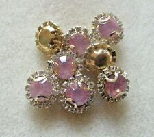 10PCS 12MM PINK OPAL CRYSTAL GOLD BACK SUNFLOWER GEMS SEW ON BUTTONS BEADS