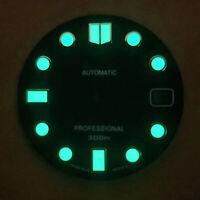 28,5mm Zifferblatt Grün Leuchtendes mit Kalender für NH35 NH36 Automatik Uhrwerk