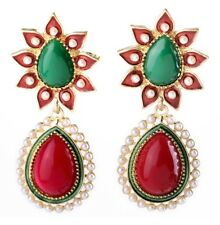 RED GREEN RHINESTONE ENAMEL WHITE PEARL BEADED Flower Chandelier Drop Earrings