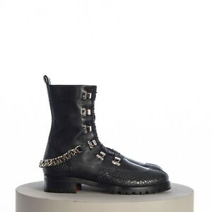 CHRISTIAN LOUBOUTIN 1395$ Horse Guarda Flat Military Boots In Black Leather