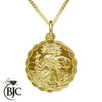 BJC® 9ct Yellow Gold St Saint Christopher Pendant / Medallion Travel Necklace