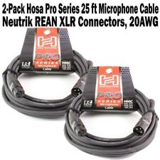 2-Pack Hosa Pro Series 25 ft XLR Microphone Cable Neutrik REAN Connector HMIC-25