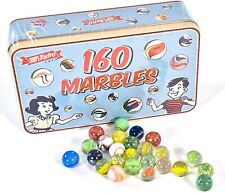 160 Assorted Colorful Classic Retro Glass Marbles In a Tin Children Kids Game