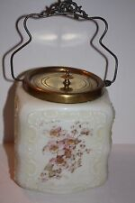 Victorian Glass and Brass Hand Painted Floral Biscuit Jar 1860-1912